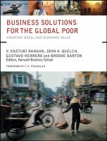 Cover image for Business solutions for the global poor : creating social and economic value