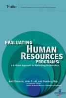 Cover image for Evaluating human resources programs : a 6-phase approach for optimizing performance