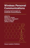 Cover image for Wireless personal communications : emerging techonologies for enchanced communications