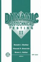 Cover image for Dynamic geotechnical testing II