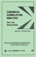 Cover image for Canonical correlation analysis : uses and interpretation