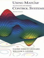Cover image for Using MATLAB to analyze and design control systems