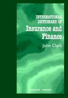 Cover image for International dictionary of insurance and finance