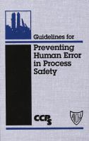 Cover image for Guidelines for preventing human error in process safety