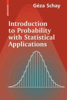 Cover image for Introduction to probability with statistical applications