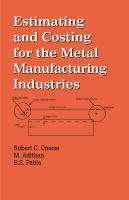 Cover image for Estimating costing for the metal manufacturing industries
