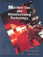 Cover image for Machine tool and manufacturing technology