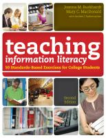 Cover image for Teaching information literacy : 50 standards-based exercises for college students