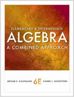 Cover image for Elementary and intermediate Algebra : a combined approach