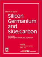 Cover image for Properties of silicon germanium and sige : carbon