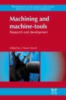 Cover image for Machining and machine-tools : research and development