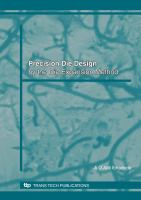 Cover image for Precision die design : by the die expansion method