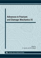Cover image for Advances in fracture and damage mechanics IX : proceedings of the 9th International Conference on Fracture and Damage Mechanics, FDM 2010, 20-22 September, 2010, Nagasaki, Japan