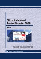 Cover image for Silicon carbide and related materials 2009 : selected peer reviewed papers from the International Conference on Silicon Carbide and Related Materials 2009, Nurnberg, Germany, October 11-16, 2009
