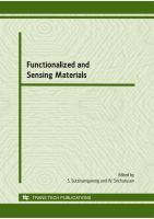 Cover image for Functionalized and sensing materials : selected, peer reviewed papers from international conference on functionalized and sensing materials, 7-9 December 2009, Bangkok, Thailand