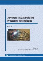 Cover image for Advances in materials and processing technologies : selected, peer reviewed papers from the International Conference on Advances in Materials and Processing Technologies (AMPT), 2-5 November, 2008
