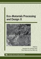 Cover image for Eco-materials processing and design X : selected peer reviewed papers from 10th International Symposium on Eco-Materials Processing and Design
