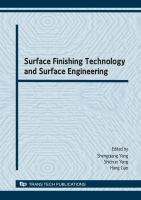 Cover image for Surface finishing technology and surface engineering : selected, peer reviewed papers from International Conference on Surface Finishing Technology and Surface Engineering, (ICSFT2008), 20-21 September 2008, Taiyuan, China