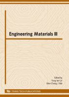Cover image for Engineering materials III : selected, peer reviewed papers from the 3rd cross-Taiwan-Strait Conference on Engineering Materials, Hsinchu, Taiwan, November 16-17, 2007