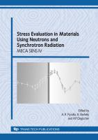 Cover image for Stress evaluation in materials using neutrons and synchrotron radiation : selected peer reviewed papers from the International Conference on Stress Evaluation in Materials Using Neutrons and Synchrotron Radiation proceedings, Vienna, 24 - 26 September 2007
