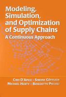 Cover image for Modeling, simulation, and optimization of supply chains : a continuous approach