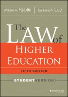 Cover image for The law of higher education, fifth edition : student version
