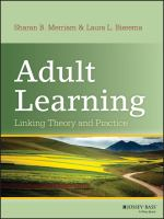 Cover image for Adult learning : linking theory and practice