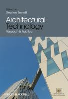 Cover image for Architectural technology research and practice