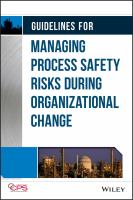 Cover image for Guidelines for managing process safety risks during organizational change