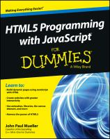 Cover image for HTML5 programming with JavaScript for dummies