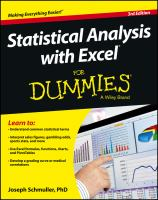 Cover image for Statistical analysis with Excel for dummies