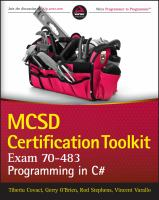 Cover image for MCSD certification toolkit (exam 70-483) : programming in c#