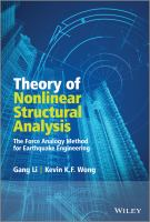 Cover image for Theory of nonlinear structural analysis : the force analogy method for earthquake engineering