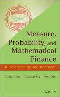 Cover image for Measure, probability, and mathematical finance : a problem oriented approach