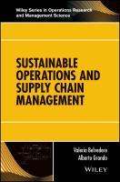Cover image for SUSTAINABLE OPERATIONS AND SUPPLY CHAIN MANAGEMENT