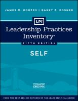 Cover image for Leadership Practices Inventory : SELF