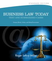 Cover image for Business law today : text & summarized cases : e-commerce, legal, ethical, and global environment