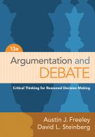 Cover image for Argumentation and debate : critical thinking for reasoned decision making