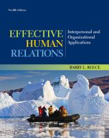 Cover image for Effective human relations : interpersonal and organizational applications