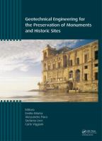 Cover image for Geotechnical engineering for the preservation of monuments and historic sites