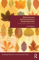 Cover image for Reforming law and economy for a sustainable earth : critical thought for turbulent times