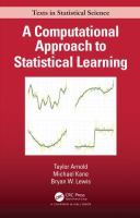Cover image for A Computational Approach to Statistical Learning