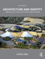 Cover image for ARCHITECTURE AND IDENTITY : Responses to Cultural and Technological Change