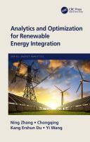 Cover image for Analytics and Optimization for Renewable Energy Integration