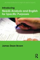 Cover image for Introducing needs analysis and english for specific purposes