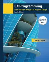 Cover image for C# programming : from problem analysis to program design
