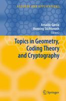 Cover image for Topics in geometry, coding theory and cryptography