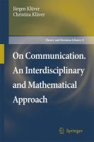 Cover image for On Communication. An Interdisciplinary and Mathematical Approach