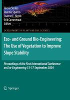 Cover image for Eco- and ground bio-engineering : the use of vegetation to improve slope stability : proceedings of the First International Conference on Eco-Engineering, 13-17 September 2004