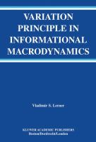 Cover image for Variation principle in informational macrodynamics